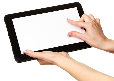 woman hands holding a tablet isolated on white