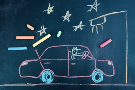 Car on road, child's drawing with chalk Stock Photo - 14694091