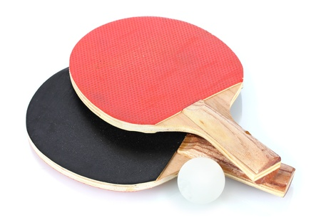 sporting equipment: table tennis rackets and ball, isolated on white Stock Photo
