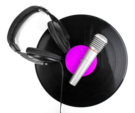 Black vinyl record with headphones and microphone isolated on white Stock Photo - 14708484