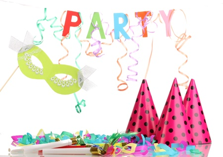Party items isolated on white photo