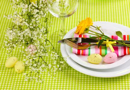 buffet table: Easter table setting Stock Photo