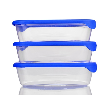 tupperware: Plastic containers for food isolated on white