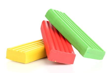 Children bright plasticine isolated on white Stock Photo - 14741155