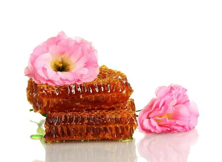 honeycombs with honey and flowers isolated on white photo
