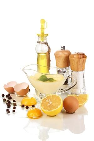 Mayonnaise ingredients isolated on white photo