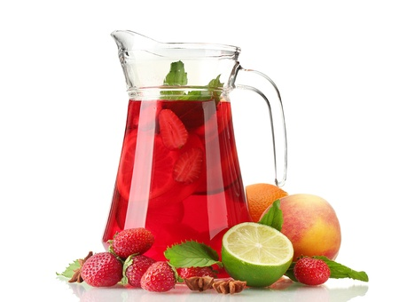 sangria in jar with fruits, isolated on white photo