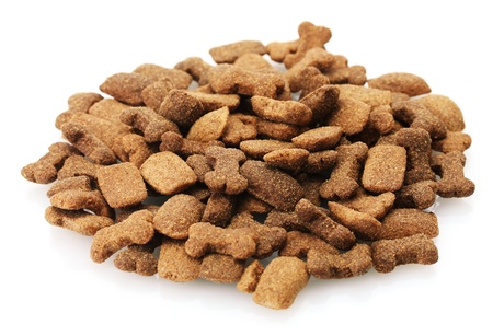 pet store: dry dog food isolated on white
