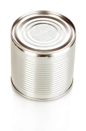 Tin can isolated on white photo