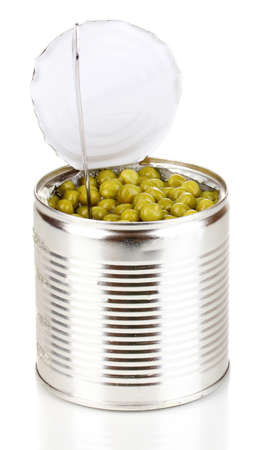 tinned: Open tin can of peas with spoon isolated on white