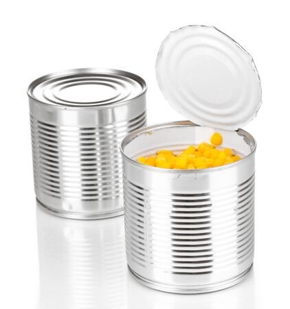 tinned: Open tin can of corn and closed can isolated on white Stock Photo