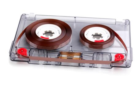 Audio cassette with color label isolated on white photo