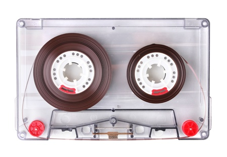 vintage radio: Audio cassette with color label isolated on white Stock Photo