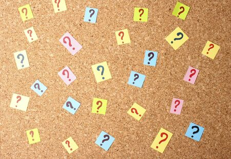 Many question marks on cork board Stock Photo - 14745288