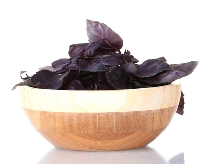 eat the plant: Basil in a wooden bowl isolated on white