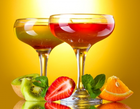 fruit jelly in glasses and fruits on yellow background Stock Photo - 14738973