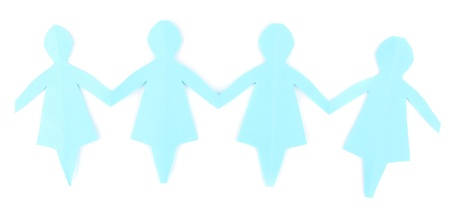 Paper people isolated on white photo