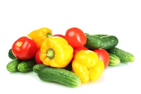 papryczki: świeże warzywa na białym Zdjęcie Seryjne