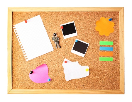 pin board: Cork board with notes Stock Photo