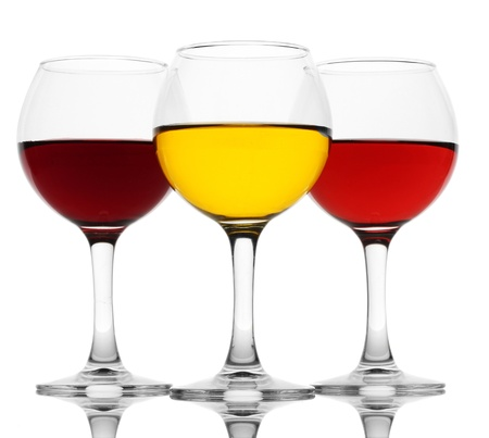 three glasses of wine isolated on white photo
