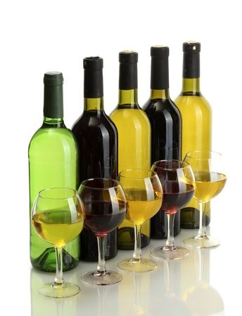 red taste: bottles and glasses of wine isolated on white