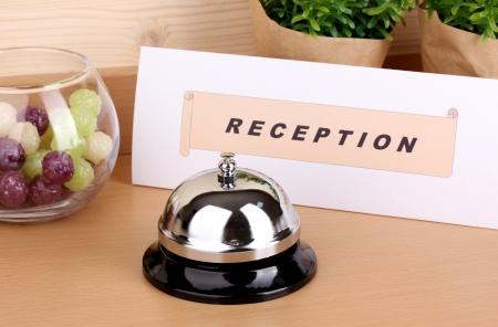 Hotel reception isolated on white photo