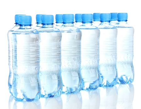 mineral water: plastic bottles of water isolated on white Stock Photo