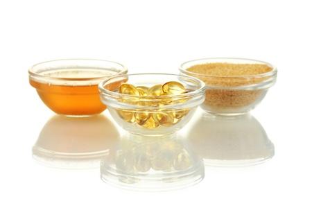 gelatine: Gelatin in bowls isolated on white