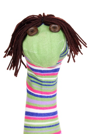 Cute sock puppet isolated on white Stock Photo - 14854175