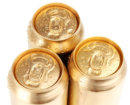 golden cans isolated on white photo