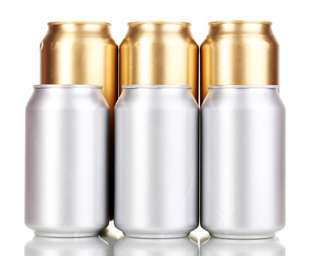 golden and silver cans isolated on white photo