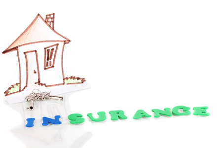 concept of home insurance isolated on white photo