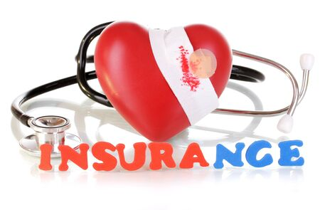 tonograph: concept of health insurance isolated on white Stock Photo