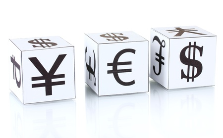forex. currency in the white dices on white background photo