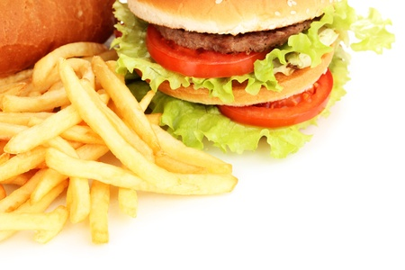 food an drink: Fast food close-up isolated on white