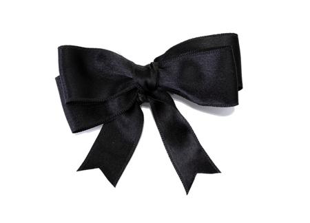 black ribbon bow isolated on white photo