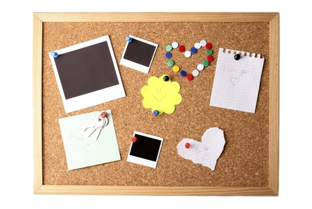 Cork board with notes photo