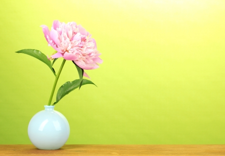 Pink peony in vase on wooden table on green background photo