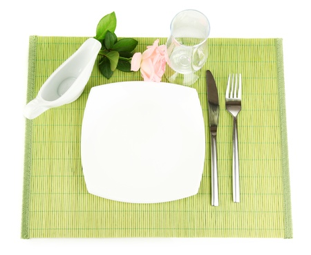 Table setting on a bamboo mat