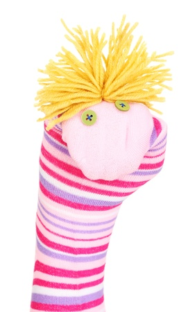 Cute sock puppet isolated on white Stock Photo - 14865731