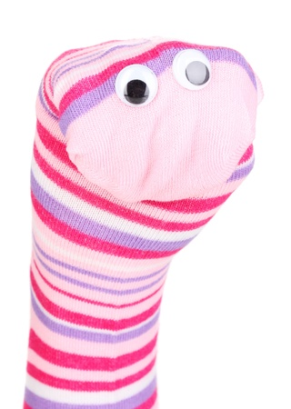 Cute sock puppet isolated on white Stock Photo - 14919490