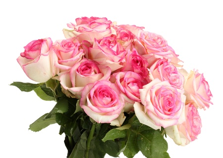 bouquet flowers: beautiful bouquet of pink roses isolated on white