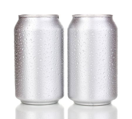 aluminum cans with water drops isolated on white Stock Photo - 14918365