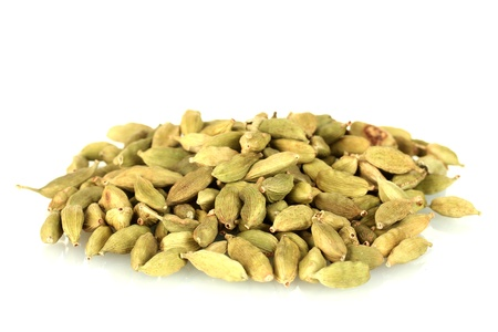 green cardamom isolated on white close-up Stock Photo