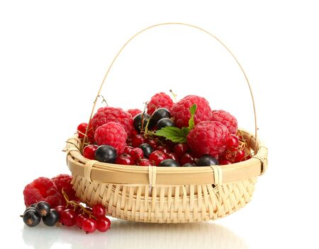 ripe berries with mint in basket isolated on white Stock Photo - 14916851