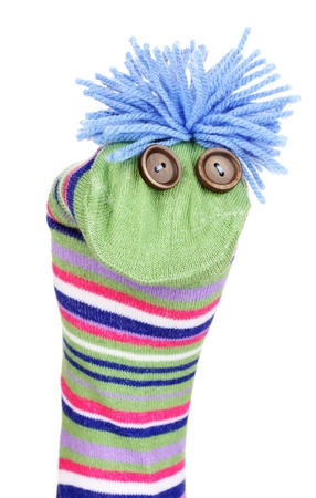 Cute sock puppet isolated on white Stock Photo - 14921712
