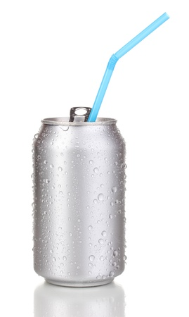 Open aluminum can isolated on white  photo