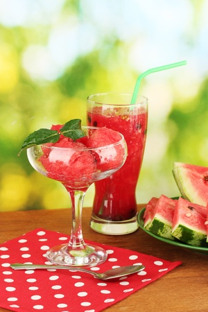 Refreshing desserts of watermelon on green background close-up photo