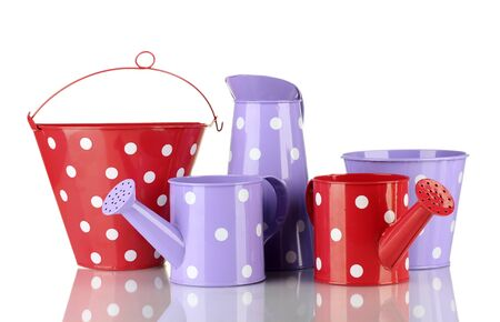 Purple and red watering cans and buckets with white polka-dot isolated on white Stock Photo - 14919299