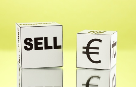 forex. currency in the white dices on green background photo